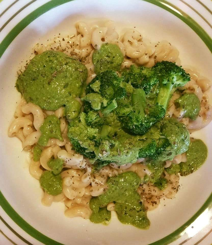 A Swiss Chard Walnut Pesto with White Bean Mac and Cheese
