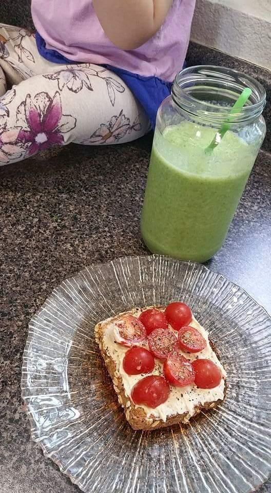 Pineapple Green Smoothie and Hummus Toast